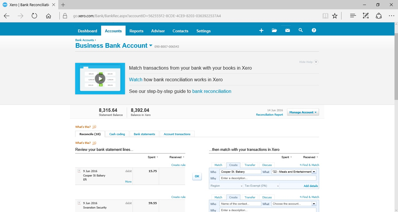 Xero-Bank-Reconciliation