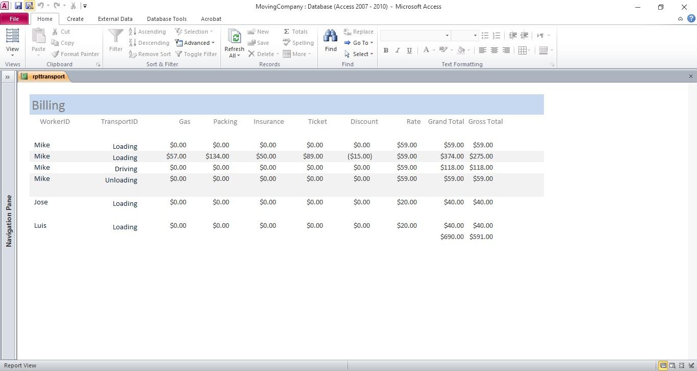 Moving-Company-Billing-Report